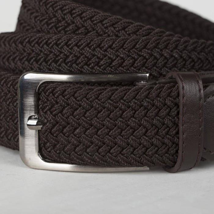 Ремень мужской, ширина - 4 см, резинка плетёнка, пряжка металл, цвет коричневый - фото 2
