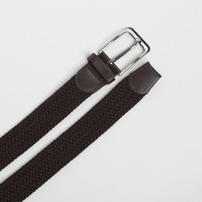 Ремень мужской, ширина - 4 см, резинка плетёнка, пряжка металл, цвет коричневый - фото 3