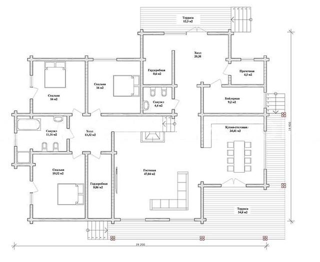 проект одноэтажного жилогодома, проект деревянного жилого дома и строительство под ключ