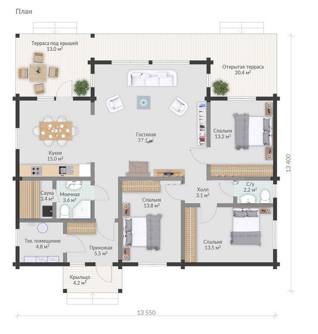 план одноэтажного деревянного дома из бруса