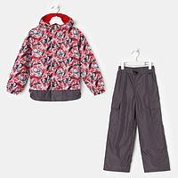 Костюм для мальчика, цвет красный/серый, рост 104 см