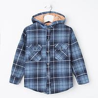 Куртка детская, цвет синий/клетка, рост 122 см