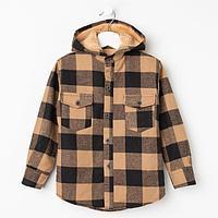Куртка детская, цвет бежевый/клетка, рост 122 см