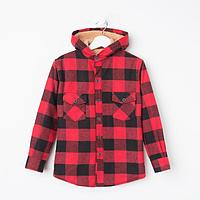 Куртка детская, цвет красный/клетка, рост 140 см