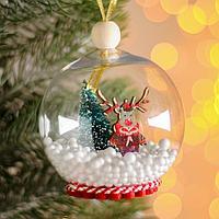Новогодний шар с деревянной фигуркой «Олень» 8х8 см