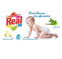 Салфетки Real влажные детские 34шт Алоэ Ромашка