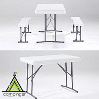 Пластиковый стол со складными лавочками