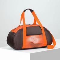 Сумка спортивная, отдел на молнии, наружный карман, длинный ремень, цвет коричневый/оранжевый