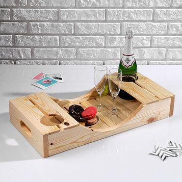 Поднос для вина под две бутылки, ручки-вырезы боковые, масло, МАССИВ, 30×60 см