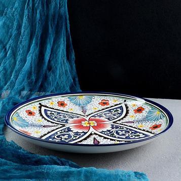 Ляган фарфоровый Риштан, 31 см Оригинал синий