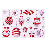 Набор наклеек 'Ёлочные украшения' голографическая фольга, красные игрушки, 16,7 х 24,6 см