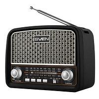 SVEN SRP-555, черный-серебро, радиоприемник, мощность 3 Вт (RMS), FM/AM/SW, USB, SD/microSD