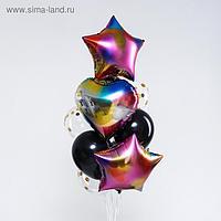 Букет из шаров «Радужный», сердце, звезда, фольга, латекс, набор 10 шт.