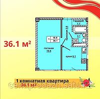 1 комнатная квартира в ЖК Эльбрус 36.1 м²