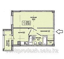 1 комнатная квартира в ЖК Эльбрус 41.35  м²