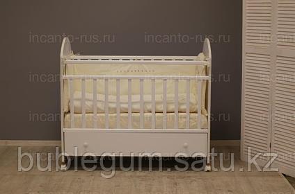 Кровать Bonito с ящиком, цвет белый, колесо-качалка c ящиком