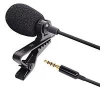 Петличный микрофон 1.5м для телефона, камеры разъем 3.5мм