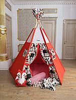 Детская палатка вигвам с ковриком и подушками оранжевый 6-ти гранный