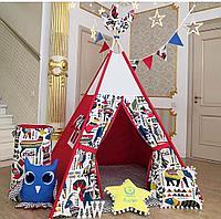 Детская палатка вигвам с ковриком и подушками красный 4-ти гранный
