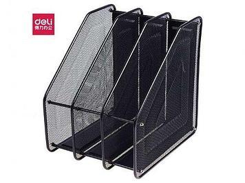 Лоток вертикальный DELI, 3 отделения, металлический, черный