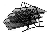 Лоток горизонтальный DELI на 3 отделения, металлический черный