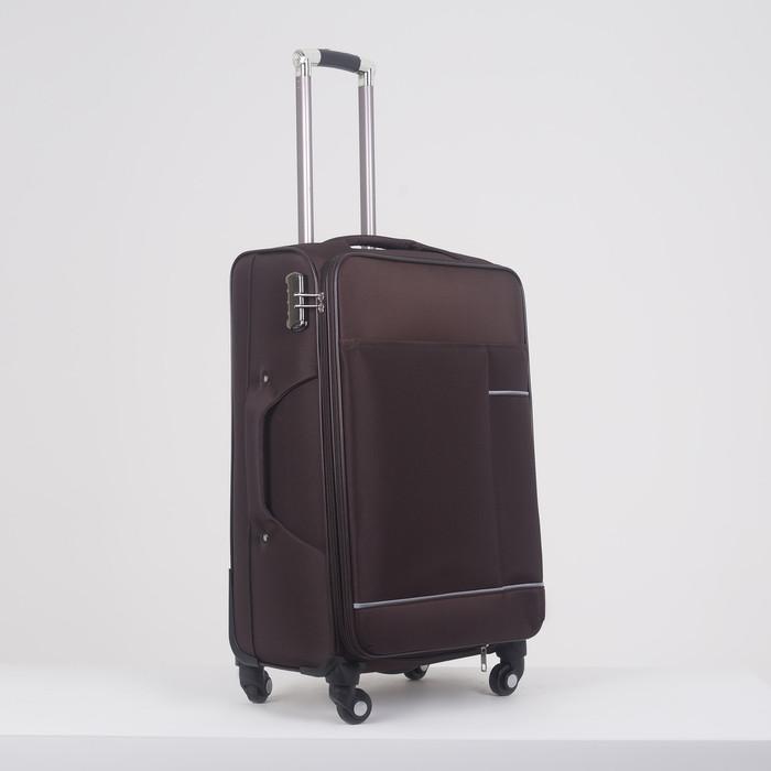 """Чемодан средний 24"""", отдел на молнии, наружный карман, с расширением, кодовый замок, 4 колеса, цвет кофе"""