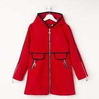 Пальто для девочки, цвет красный, рост 146 см