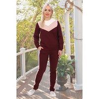 Костюм женский (свитшот, брюки) цвет винный, размер 52