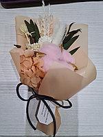 Букет из сухоцветов, цвет бежевый, можно с вазой или отдельно, высота 16 см