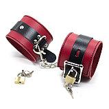 Красно-чёрные кожаные наручники, фото 2