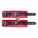 Красно-чёрные кожаные наручники, фото 3