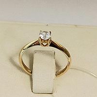 Золотое кольцо с фианитом / размер 16,5