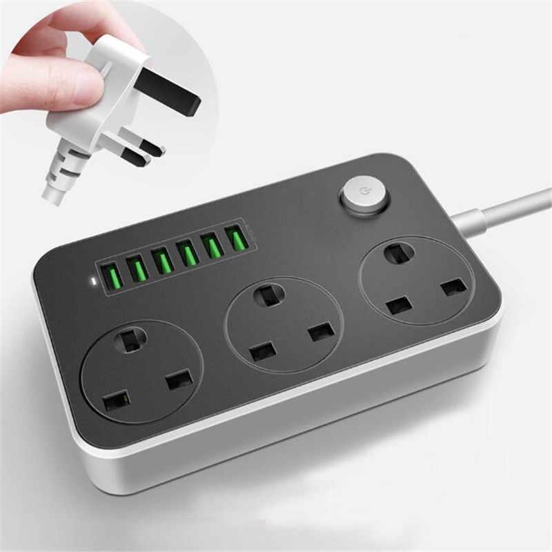 Розетка питания с 3 AC + 6 USB-адаптером зарядного устройства  3.4 A