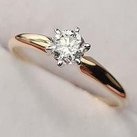 Сертификат GIA 0,40Сt SI1/J Good-Cut Золотое 585 пр. кольцо с бриллиантом, фото 1