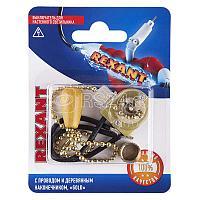 Выключатель для настенного светильника c проводом и деревянным наконечником gold блист. Rexant 06-0243-A