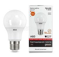 Лампа светодиодная Elementary A60 7Вт грушевидная 2700К тепл. бел. E27 520лм 180-240В Gauss 23217A