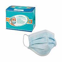 Маска на резинках, цвет голубой, упаковка 100 шт