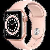 Apple Watch Series 6, 40 мм, корпус из алюминия золотого цвета, спортивный ремешок розовый песок, фото 1