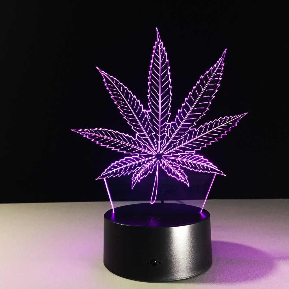 Светодиодный 3D ночник в форме листка 7 цветных режима 10х20 - фото 5