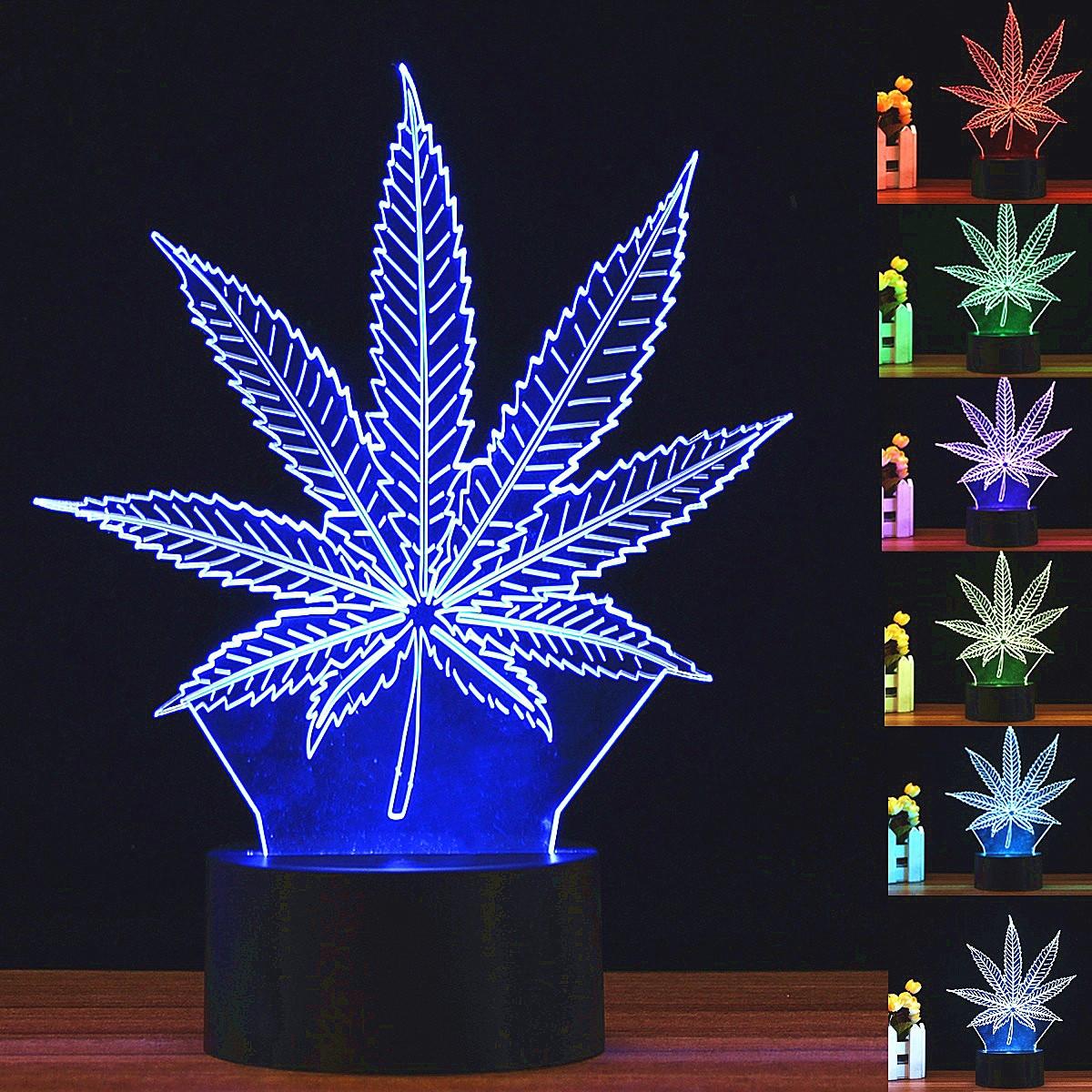 Светодиодный 3D ночник в форме листка 7 цветных режима 10х20 - фото 1