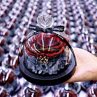 Розы в колбе, живая роза в колбе c LED подсветкой 12cm*13cm, фото 1