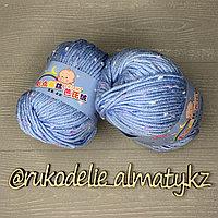 """Пряжа """"Baby"""" в крапинку для ручного вязания небесно-голубой с синим"""