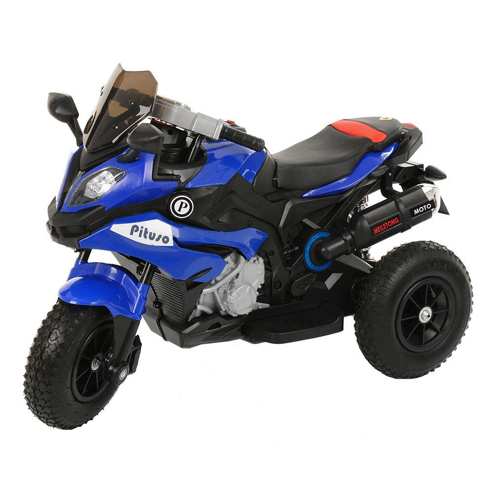 Детский электро-мотоцикл PITUSO HLX2018/2, 12V/7Ah*1,колеса надув.,108х46х76 см, Blue/ Синий (музыка,свет)