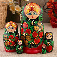Матрёшка «Земляничка», красное платье, 5 кукольная, 15 см