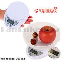 Кухонные электронные весы с мерной чашей настольные мини B05 (Electronic Kitchen scale) белые