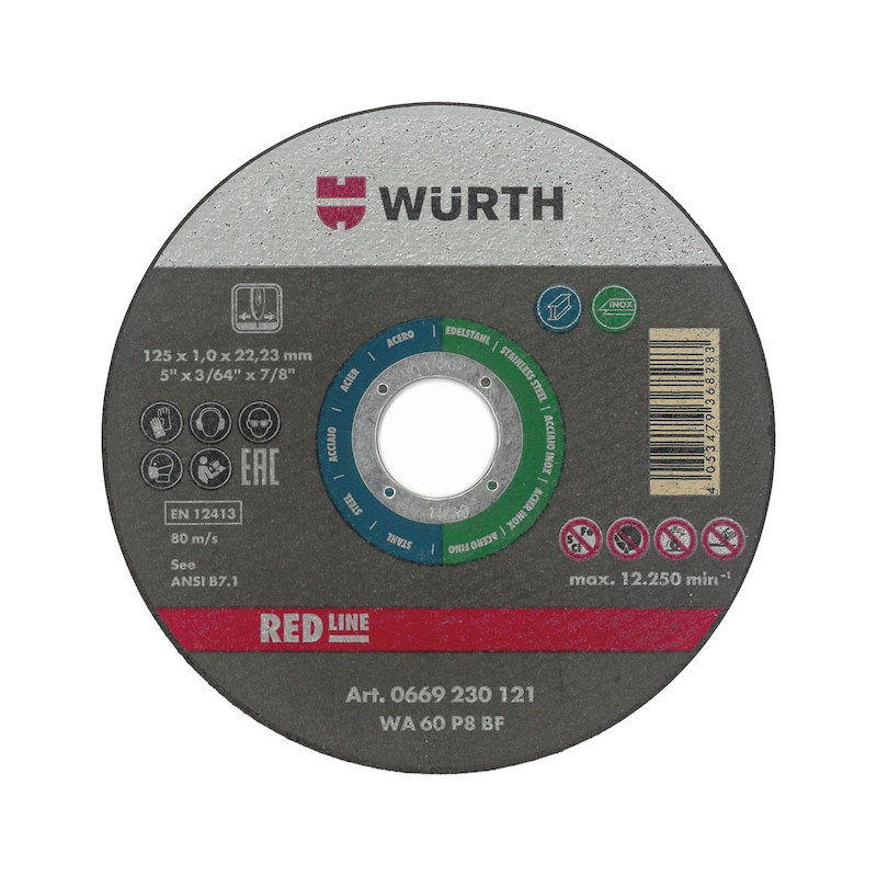 Отрезной диск, 125Х1,0/22мм RED нерж., сталь Wurth