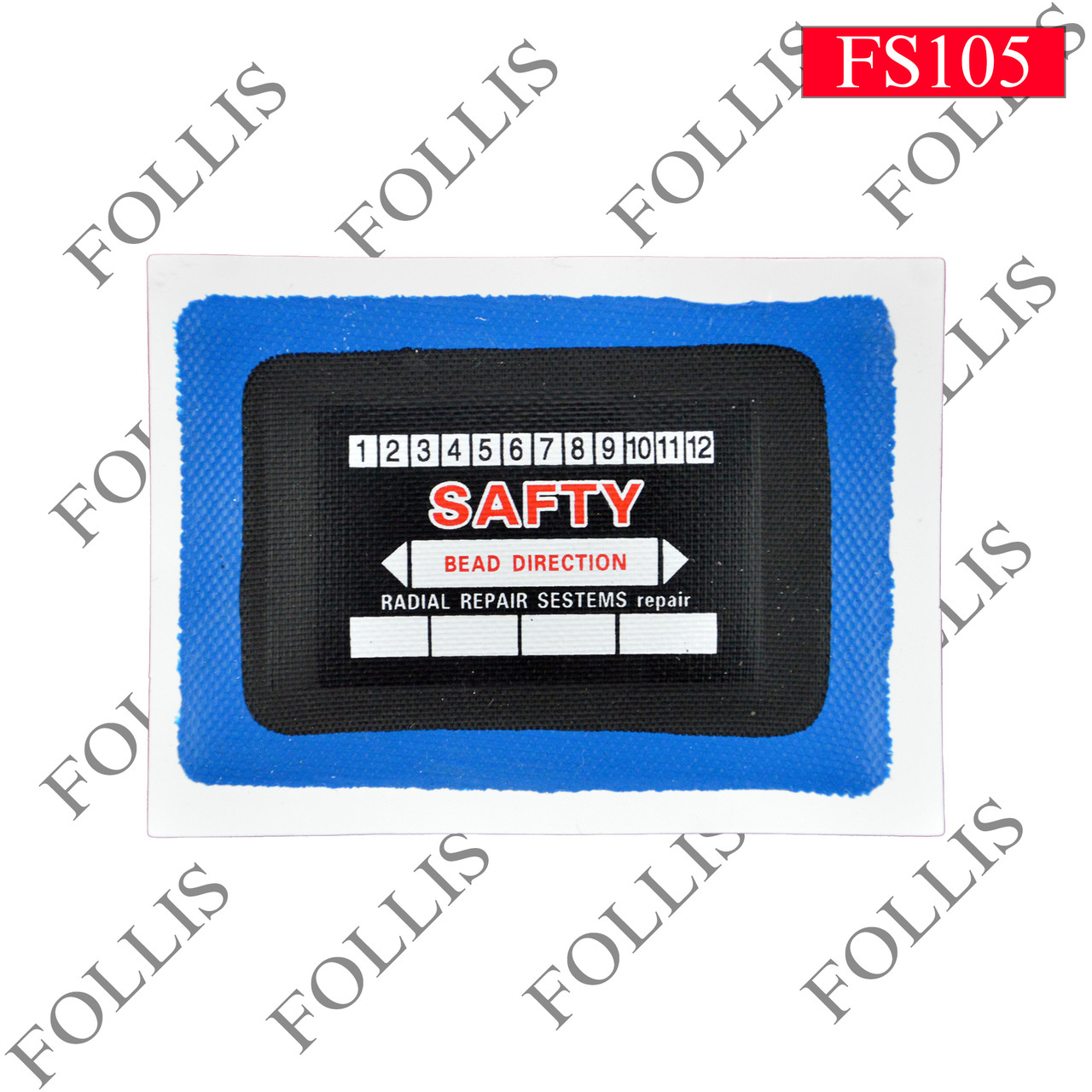 SR-08  (48x68mm)  1 ply,blue vulcanizing gum white backing