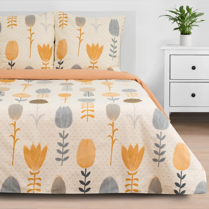Постельное бельё «Этель» 1.5 сп Autumn flowers 143*215 см, 150*214 см, 70*70 см - 2 шт