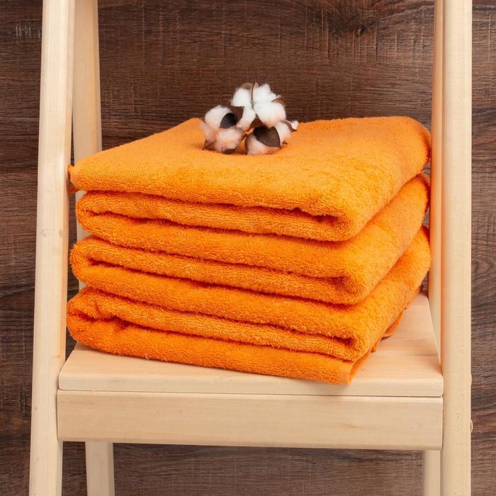 Простыня махровая гладкокрашенная 155х200 см, цвет оранжевый