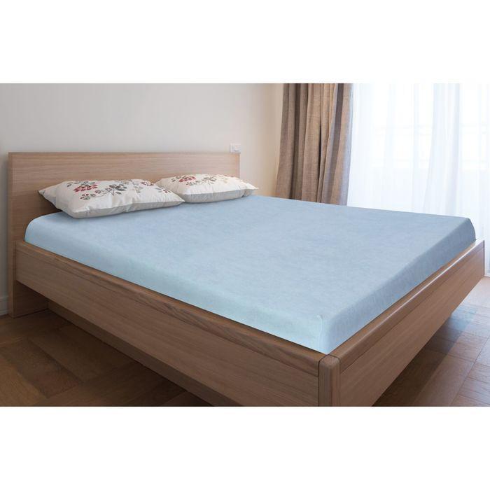 Простыня махровая на резинке, 180х200х20, цвет голубой, 160 гр/м2